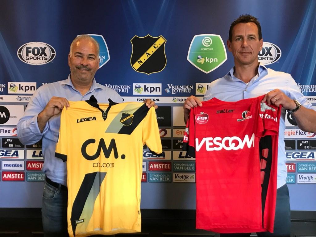 Technisch directeur NAC Hans Smulders (l) en Leon Vlemmings (Algemeen Directeur Helmond Sport).