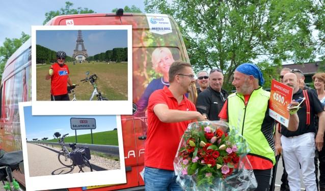 Na 39 dagen fietsen wachtte Marcel Warbroek op 27 mei in zijn woonplaats Terheijden een warm onthaal.