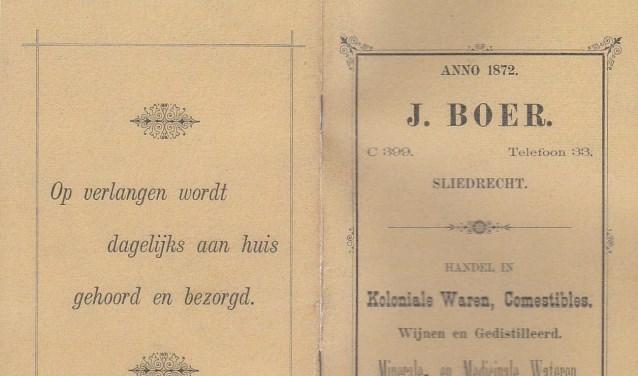 Prijslijst J. Boer. (Foto: HVS)