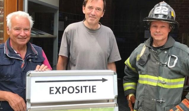 'Oud en nieuw Balgoy', vlnr. Leo Bijmans, Frank Ter Beek en voormalig brandweerman in de staat New York, Urho Engels.(Foto Corine van Dijk)