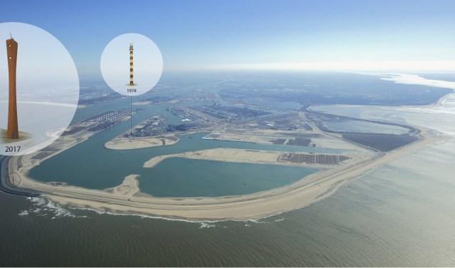 Impressie van de 70 meter hoge radartoren op de Maasvlakte.