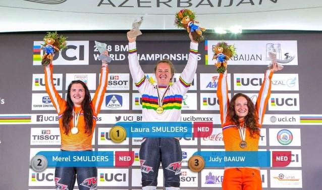 Brons voor Judy Baauw, rechts. Judy is begonnen met BMX'en bij FCV Geldermalsen op jonge leeftijd.