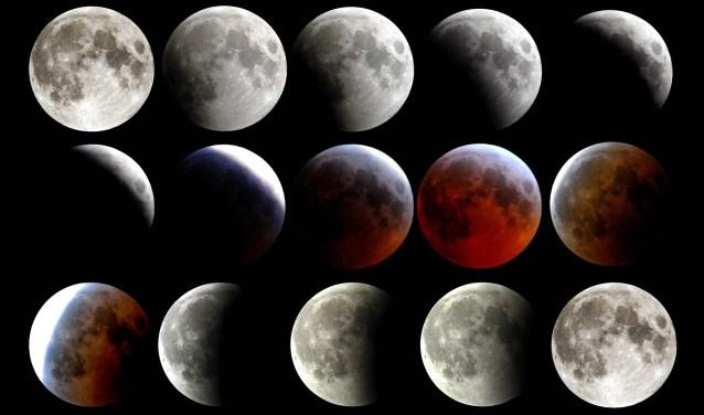 De fasen van een maansverduistering zoals die op vrijdag 27 juli te zien is.