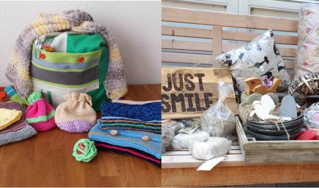 Zelfgemaakte spulletjes door de breiclub van de Waalburcht en wijkwinkel Fideel voor Actie4Kids