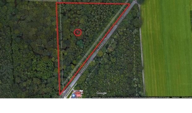 De rode cirkel geeft aan waar de bom is gevonden. Het bosgebied in de rode driehoek mag niet betreden worden.