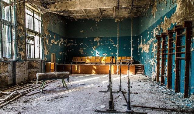 Een verlaten gymzaal in Pripyat. Afbeelding: Fotoclub Wierden.