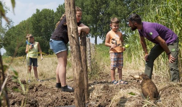 Melanie Pekel luistert hoe boswachter Tijmen van Heerde een jongen uitlegt hoe het otterholt bij Haalderen  werkt. (foto: Ellen Koelewijn)