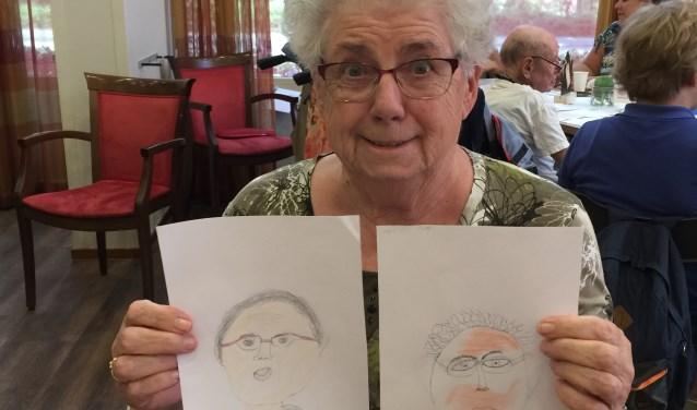 Leerlingen van basisschool De Driemaster maakten portretten van bewoners verpleeghuis Tiendwaert. (Foto: Privé)