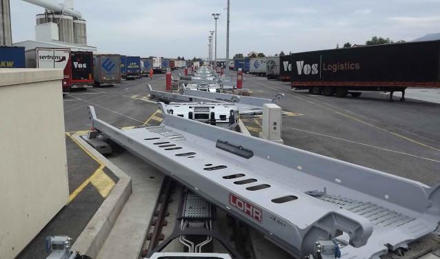 Voorbeeld van een overslagsysteem voor de treinterminal.