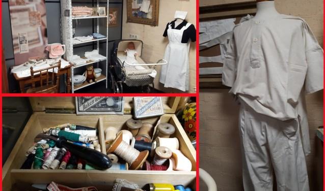 De nadruk van de expositie ligt op op dat oude ondergoed, maar naai- en handwerk spullen worden ook tentoongesteld.