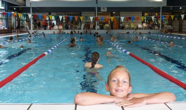 Banenzwemmen tijdens de Zwem4daagse 2016 in het Borgelerbad.