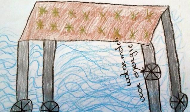 Het winnende idee van de leerlingen van de Drie Eenheid: een platform op zee om voedsel te verbouwen met zeewater.