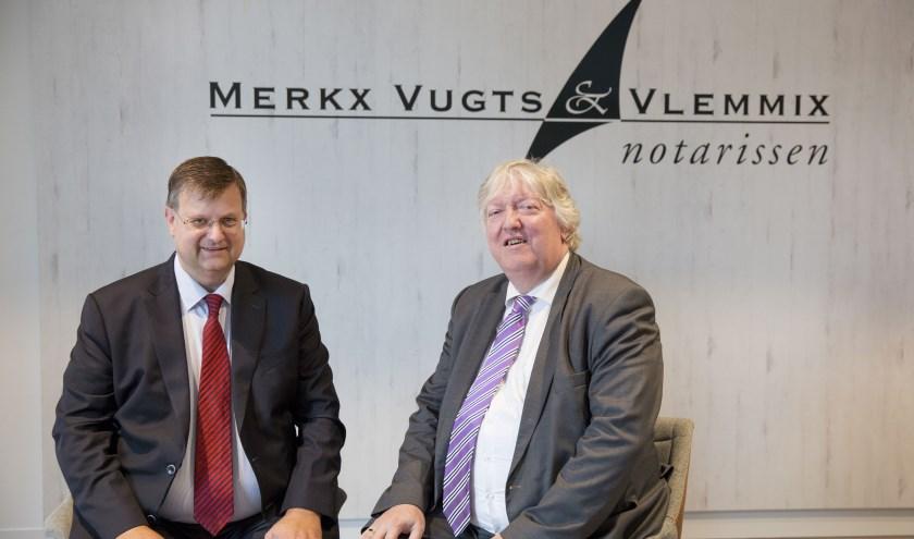 Rob Vlemmix en Hans Vugts poseren fier voor hun logo op de nieuwe locatie aan de Taxandriaweg in Waalwijk. Foto: Jasmijn Stikvoort Photography