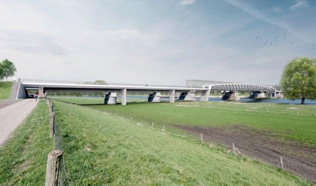 Zo moet de nieuwe fietsbrug er uiteindelijk uit komen te zien. (foto: persfoto)