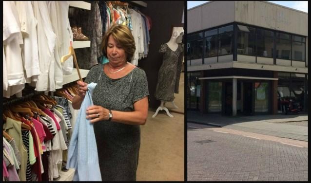Links op de foto: Ans, de helft van het Superduo Anja/Ans, aan het werk in de kledinghoek van Kringloopwinkel Oosterhout (rechts)
