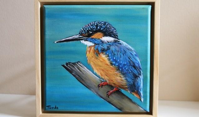 Schilderij IJsvogel op tak van Tünde Snijders