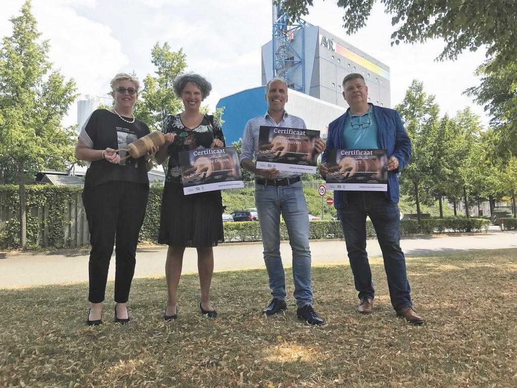 V.r.n.l. Fred Koning (4Pet), Robert Hageman (AVR), Gemma Tiedink en Carla Koers.