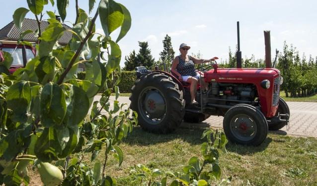 Telly Verbij rijdt met man Gerard door de Betuwe. Ze genieten van de fruitbomen tijdens de tractorvierdaagse. (foto: Ellen Koelewijn)