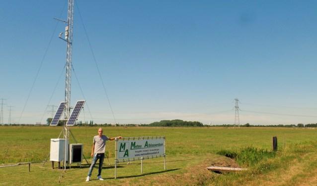 Weerman Sebastiaan van Herk bij het meetstation. Samen met zijn vader verwerkt hij de weermetingen tot weerberichten en weervideo's.