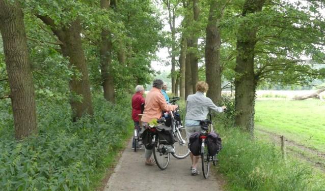 Deelnemers van een fietstocht van Samen Verder genieten van de mooie natuur. Foto: EvenMens.