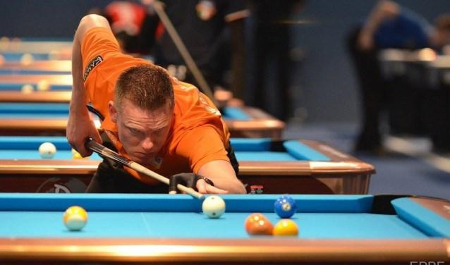 Ook de Nederlandse kampioen Niels Feijen is in Veldhoven van de partij tijdens het EK Pool.