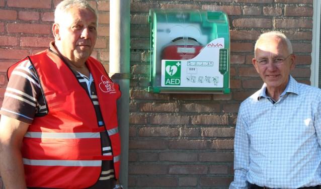 Wim Janssen en Paul van den Dungen tonen de AED die bij voetbalvereniging Ewijk hangt. FOTO: Jan Hermens