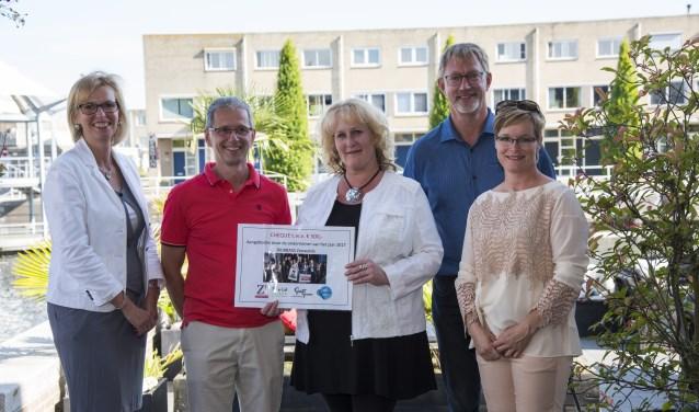 Coördinator Evelien van Soest heeft net via Cora en Marcel Achterberg een cheque ontvangen van BioBrass, de onderneming van het jaar 2017. Naast haar Charl Stoffels en Rixt Dijkstra.