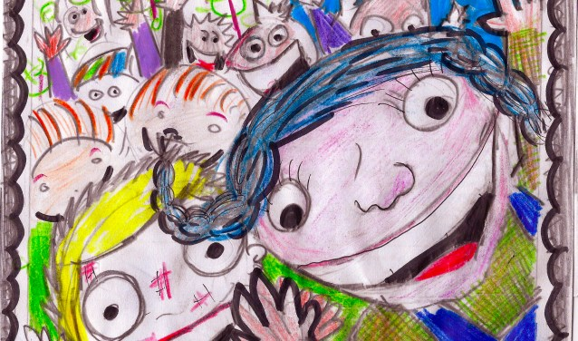De KinderZomerFeestPostzegel (Illustratie: Wim Houben)
