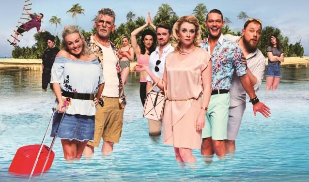De cast van Expeditie Eiland, een musical gebaseerd op tv-programma's als 'Expeditie Robinson' en 'Temptation Island'.