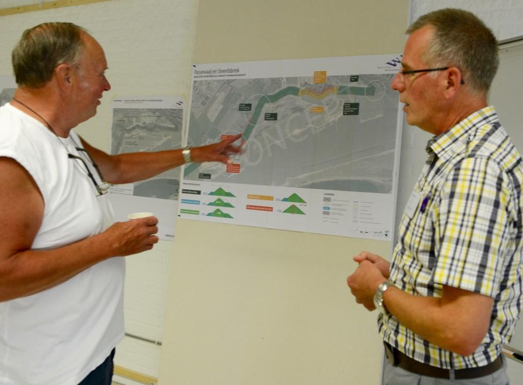 Na uitleg van Henk Havinga (r) over de nieuwe plannen is Wim van Driel erg tevreden.  © Persgroep