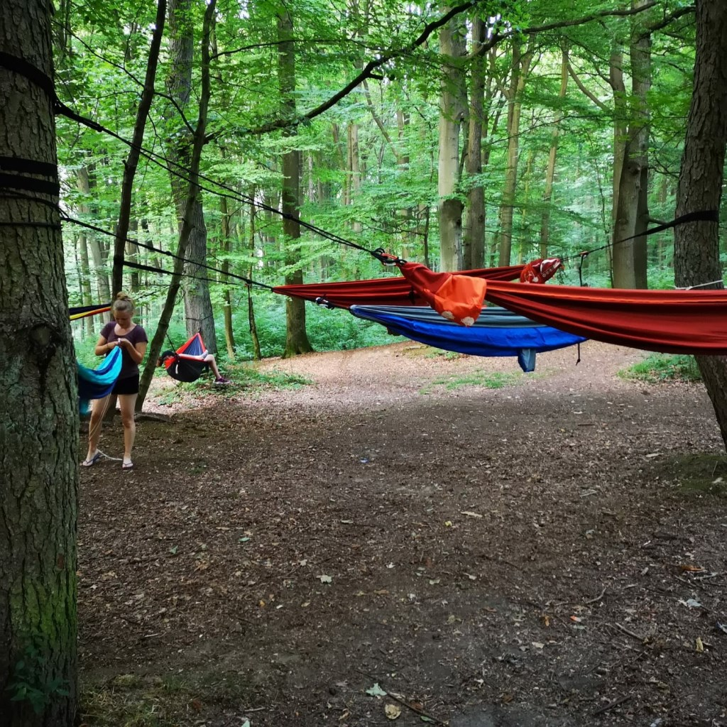 De explorers sliepen 's nachts in hangmatten onder de sterrenhemel Foto: Lukas van Mil © Persgroep