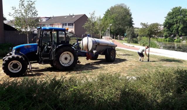 Sproeien om de droogte tegen te gaan in Capelle aan den IJssel. (Foto: Stichting Natuurvrienden Capelle aan den IJssel)
