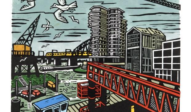 Uit de serie 12 Zichten op de Waal: Zicht op de Waalhaven van Diana Huijts. Linoleumsnede met sjabloondruk.