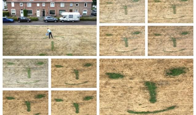 Als een schilder 'tekent' Jan de Rond met water op het vergeelde grasveld. En langzaamaan groeit de glimlach. Foto: Sandra Perenboom