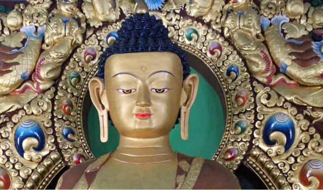 beeld Boeddha Sakyamuni in Dzogchen tempel, Dhondenling, Zuid-India