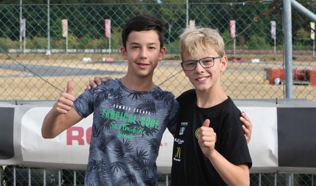 Nick Ho uit Etten-Leur (links) en Wouter Poleij uit Hoogerheide werden in Genk respectievelijk 6e en 2e in het dagklassement. FOTO: BAS KALIGIS