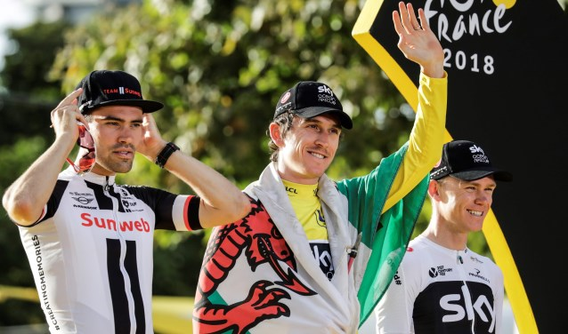 De nummers 1, 2 en 3 van de Tour de France van dit jaar rijden zondag in Etten-Leur, én ook de nummers 4 en 5. AFP PHOTO / THOMAS SAMSON