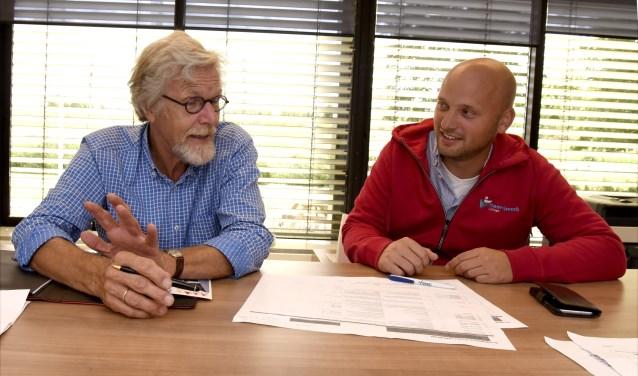 Gerard Schotanus (l) van Burennetwerk Gouda en Jacques Rozendaal, opleidingsmanager Hoornbeeck College bespreken de mogelijkheden voor de leerlingen in Korte Akkeren. Foto: Marianka Peters