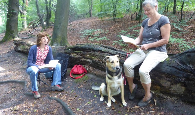 Anneke Sondaal luistert naar Engelien Heinen (met hond Rosa) in het bos bij Mariëndaal. (foto: Marnix ten Brinke)