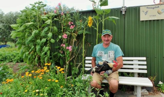 Leen Groenendijk voor zijn 'Koningshok' met in zijn handen de bijzondere groothoender uit België. (Foto: Anja Helmink)