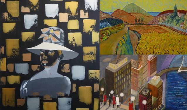 Links: 'Modern Portret Audrey Hepburn' (Theo Guidotti), rechtsboven: 'Zuid-Frans landschap' (Philip van Amen) en rechtsonder: 'Mijn stad' (Piet Vogelaar). Voor wie van de drie gaat u?