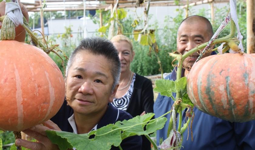Anna Chang, Anja de Pon en meneer Chang dragen het Tineltuintje een warm hart toe. FOTO: Rob Weekers.