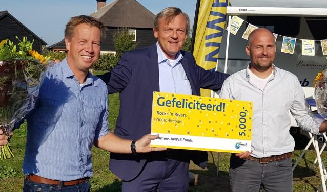 Martijn van Gool, eigenaar Rocks 'n Rivers, Frits van Bruggen, directeur ANWB en Bart Oomen, eigenaar R&R.