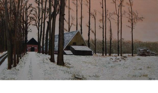 Sneeuwlandschap bij Hijink (Woold), geschilderd door Anny Baten.