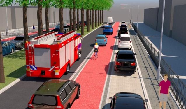 """De door het """"Comité Avenue Royale"""" na raadpleging van de bewoners voorgestelde herindeling Apeldoornseweg: variant B7. De Apeldoornseweg is in de loop der jaren jaren een belangrijk verkeersknelpunt geworden. (foto: gemeente Arnhem)"""
