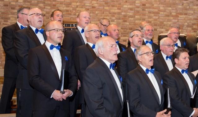 Chr. Mannenkoor 't Harde e.o. in actie tijdens een optreden in kerkgebouw Elim op 't Harde (eigen foto)