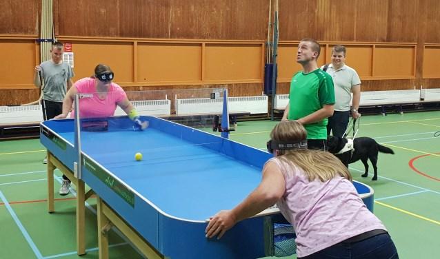 Showdown is een sport voor slechtzienden en zienden. Het is een mix van tafeltennis en airhockey. Stalen kogeltjes in de ballen zorgen voor een goede hoorbaarheid.