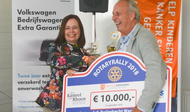 Petra Brand (voorzitter Rotaryclub Zwijndrecht Waal en Devel) en Rien Schimmel (ambassadeur Kika).