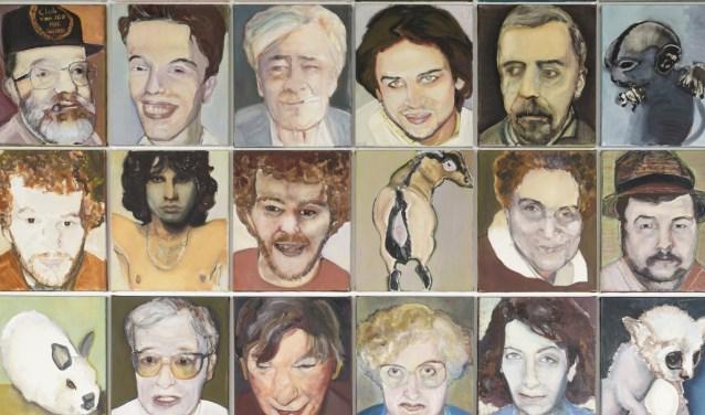 Een fragment van het werk 'Maar wie ik ben gaat niemand wat aan' (1991) van Marlene Dumas uit de collectie GGz Breburg, langdurig in bruikleen aan De Pont museum, Tilburg en Het Dolhuys, Haarlem.