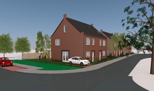 Een impressie van de te bouwen woningen in plan Appelhoek in Alphen.